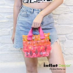 Hand Carry Bag-XS with Pocket-Daisy Red