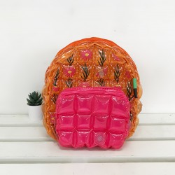 Backpack Oval Shape-S-Daisy Red