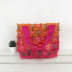 Carry Bag-S with Pocket-Daisy Red