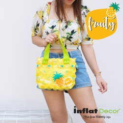 Hand Carry Bag-S with Pocket-Pineapple Fruity